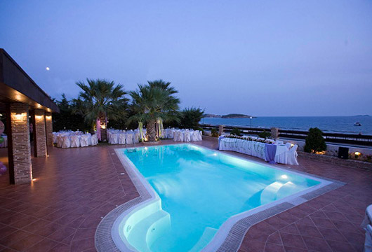 Image of outdoor hall. Villa Pelagos